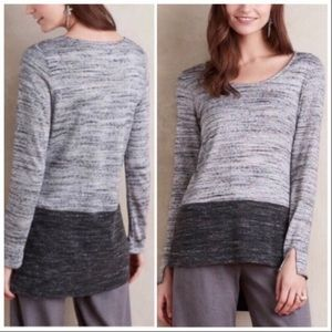 Anthropologie highlow gray color block sweater top